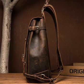 FOLGANDROS Men\'s Genuine Leather Backpack Multifunction Handmade Daypack Vintage Laptop Backpack Shoulder Bag Casual Rucksack