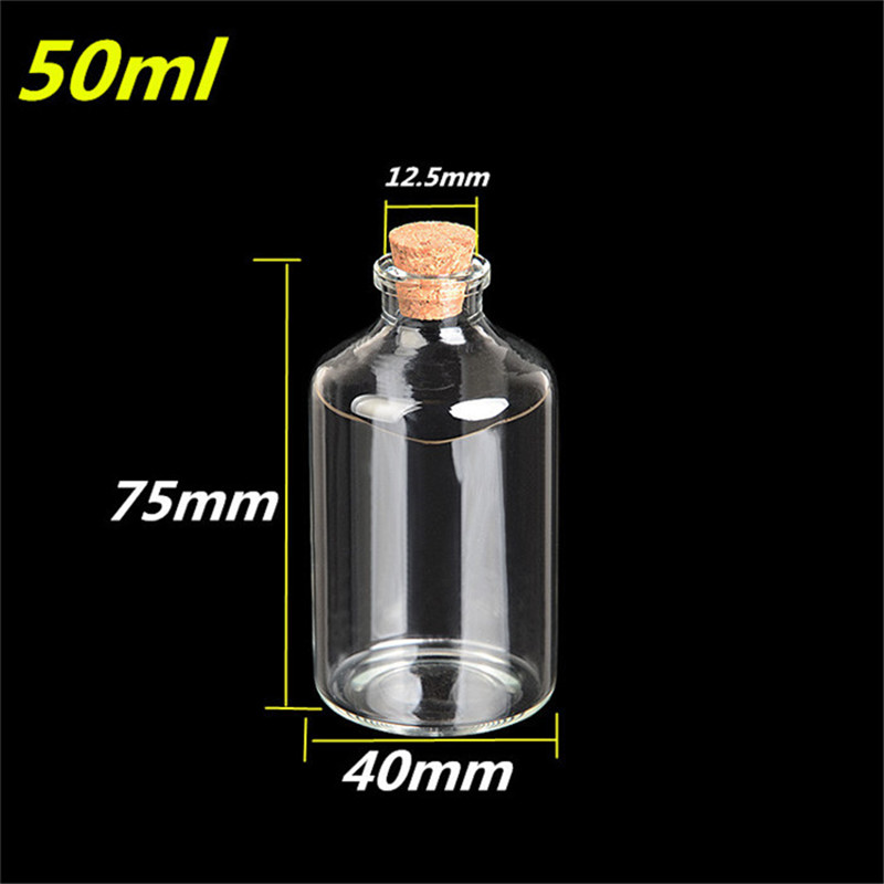 50ml Transparency Glass Bottles With Cork 40*75*12.5mm 12pcs/lot For Wedding Holiday Decoration Christmas Gifts