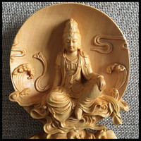 Wooden Buddha statues Guanyin Decorations Home wooden crafts Offices Family Lucky presents