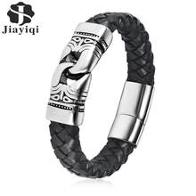 Jiayiqi Punk Men Jewelry Braided Leather Charm Bracelet Stainless Steel Magnetic Clasp Fashion Bangles 18.5/20.5/22cm(China)