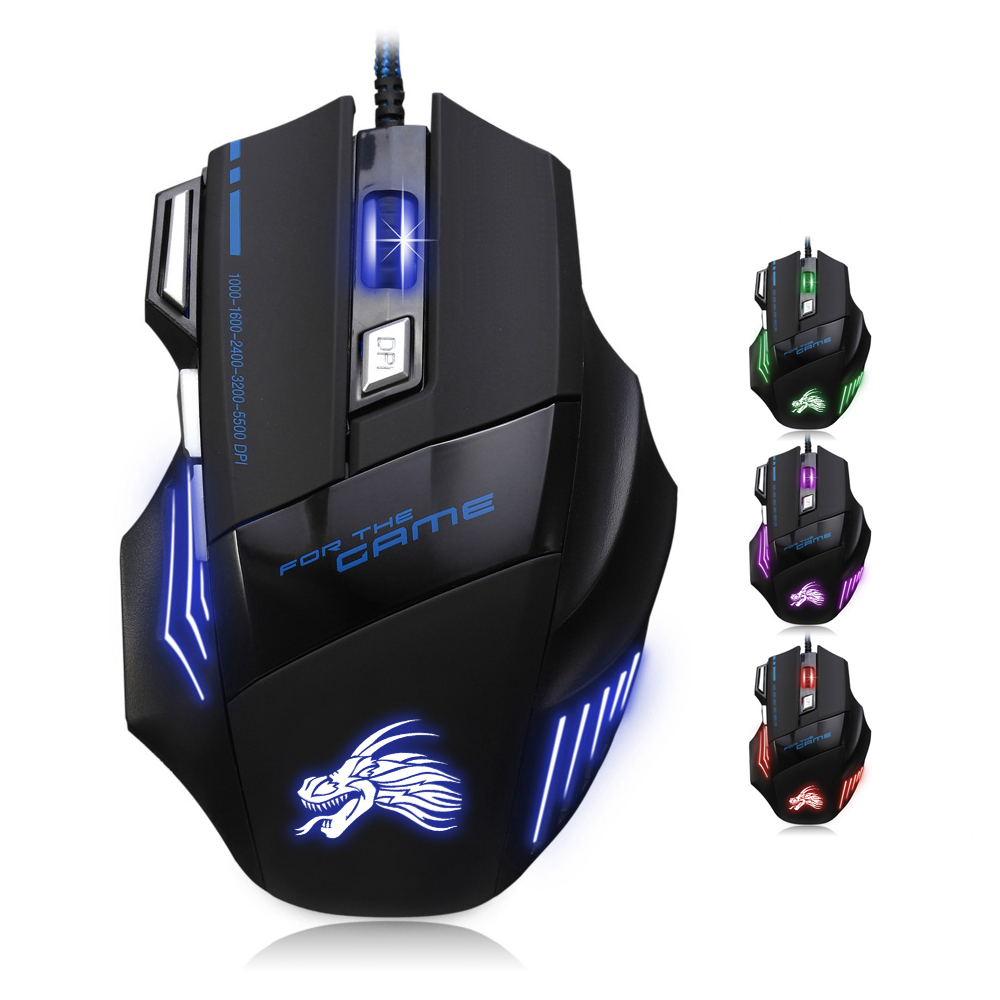 High Quality Professional Wired Gaming Mouse 7 Button 5500 DPI LED Optical USB Wired Computer Game Mouse Mice Cable Mouse x lswab l9 wired usb 2 0 800 1200 2000dpi optical game mouse red 150cm cable