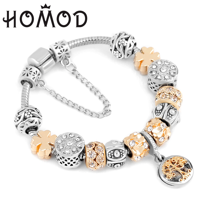 HOMOD Valentine's Day Gift Charm Bracelet Gold Color Tree of Life Pendant Fits Pandora Bracelets For Women Jewelry Dropshipping