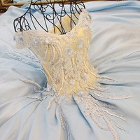 Long Dress Party Evening Elegant with Short Sleeve Appliques V Neck Lace Ball Gown Light Blue Prom Dresses Fast Shipping