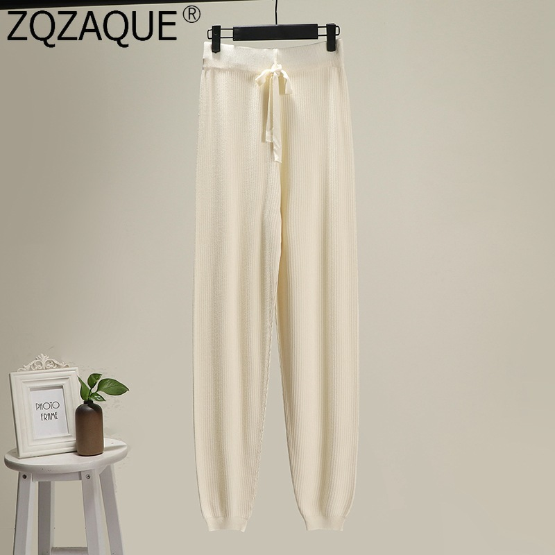 High Quality Summer Pure Color Ice Silk Trousers Harem Pants For Women's All-Match Comfortable Drawstring Knit Pants Casual Fall
