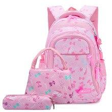 83eb6cf6d1 3pcs set Children School Bags Girls Waterproof Backpack Kids Cartoon  princess school bags set Mochila