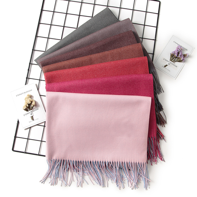 2018 winter women scarf fashion solid soft cashmere scarves for ladies pashmina shawls and wraps bandana female foulard Tassel 5