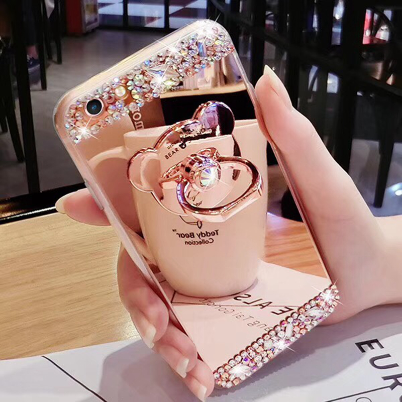 Luxury Rhinestone Case Cover For iPhone 7 8 6 6S 4 5 Plus X Phone Case Glitter Mirror Girls with Ring Holder Stand Soft TPU