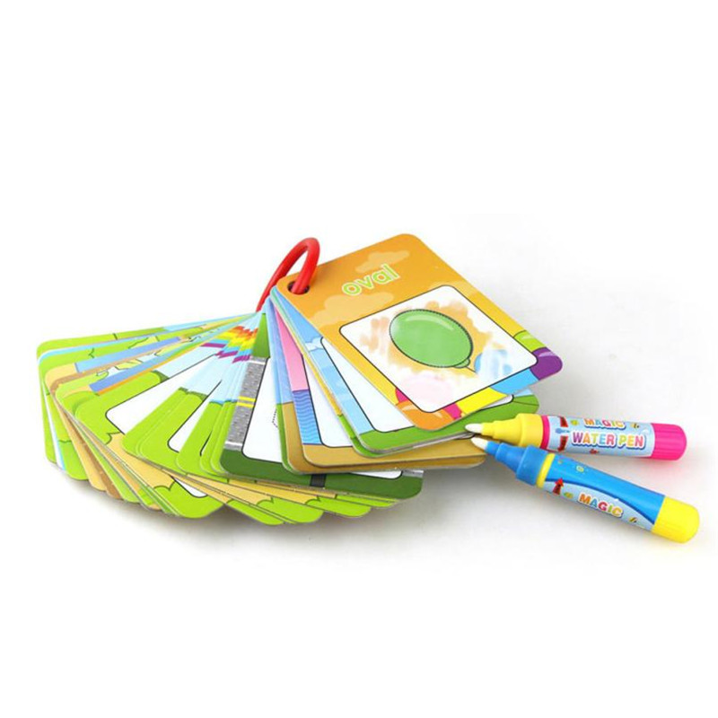 toys for children 26pcs digital card magic water painting card drawing board pattern graffiti toys coloring books for kids - Kids Painting Book