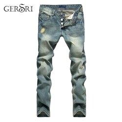 Популярные Модные джинсы Gersri в европейском и американском стиле, рваные джинсы известного бренда, прямые мужские синие джинсы, мужские джин...