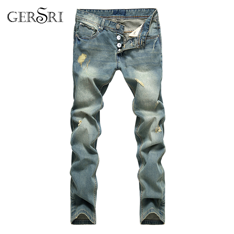 Gersri European American Style Popular Fashion Jeans Hole Famous Brand Spliced Jeans Straight Mens Blue Jeans Pants Men's Jeans