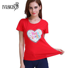 2017 Reversible Sequin T-Shirt Women Elastic Cotton t shirt New Colorful Heart Tops Summer Red O-neck Casual Tees shirts female