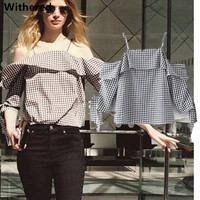 Withered Urban Blouse Women Shirt 2017new Summer Season 100 Cotton Plaid A Word Collar Bow Sleeve