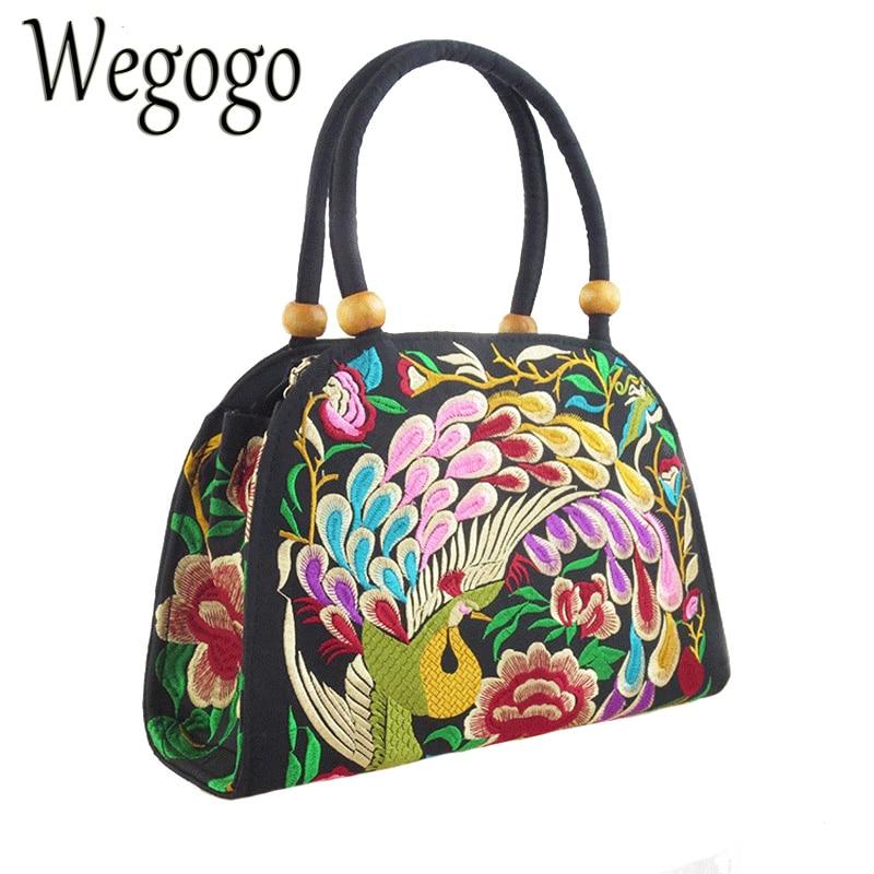 Wegogo Vintage Women's Handbag Canvas Ethnic Shoulder Bag Embroidery Retro Shoulder Tote Messenger Bag Purse Satchel Hobos Bag