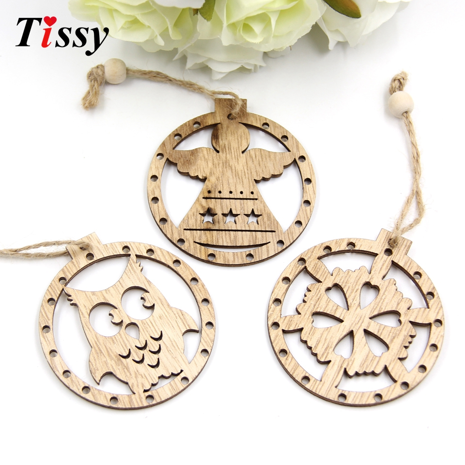 12PCS Cute Round Christmas Wooden Pendant Ornaments Xmas Tree Ornaments DIY Crafts Christmas/Wedding Party Decorations Kids Gift