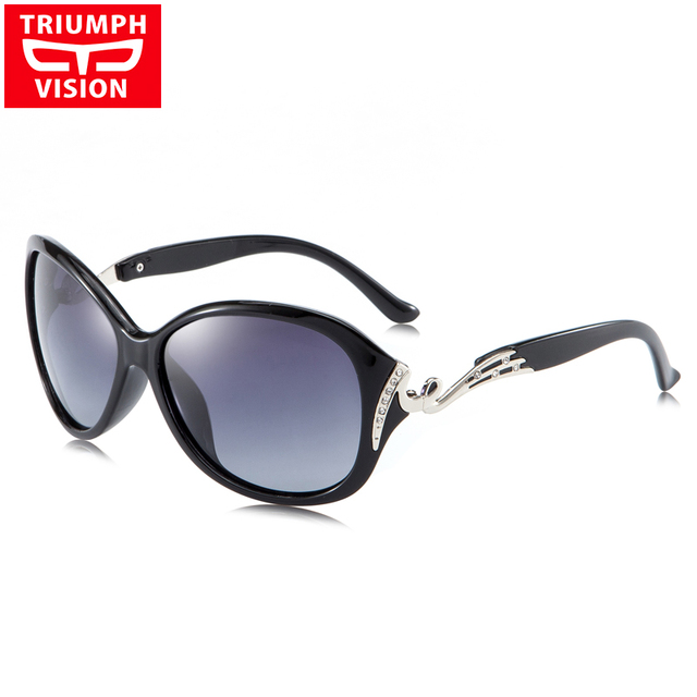 9ff56a66f3 TRIUMPH VISION Ladies Driving Sunglasses Luxury Rhinestones Oversized  Butterfly Shades Gradient TAC Polarized Sun Glasses Women