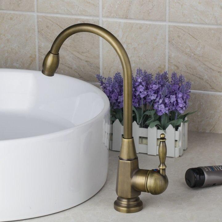 Antique Brass Swivel 360 Single Handle Deck Mount Cozinha Torneira 8665 Single Hole Tap Mixer Faucet