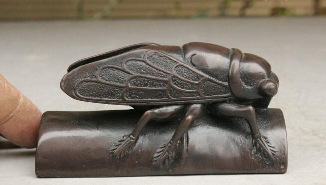FREE SHIPPING Folk Chinese Old Collect Pure Bronze Auspicious Cicada On Bamboo Statue Figurine fastFREE SHIPPING Folk Chinese Old Collect Pure Bronze Auspicious Cicada On Bamboo Statue Figurine fast
