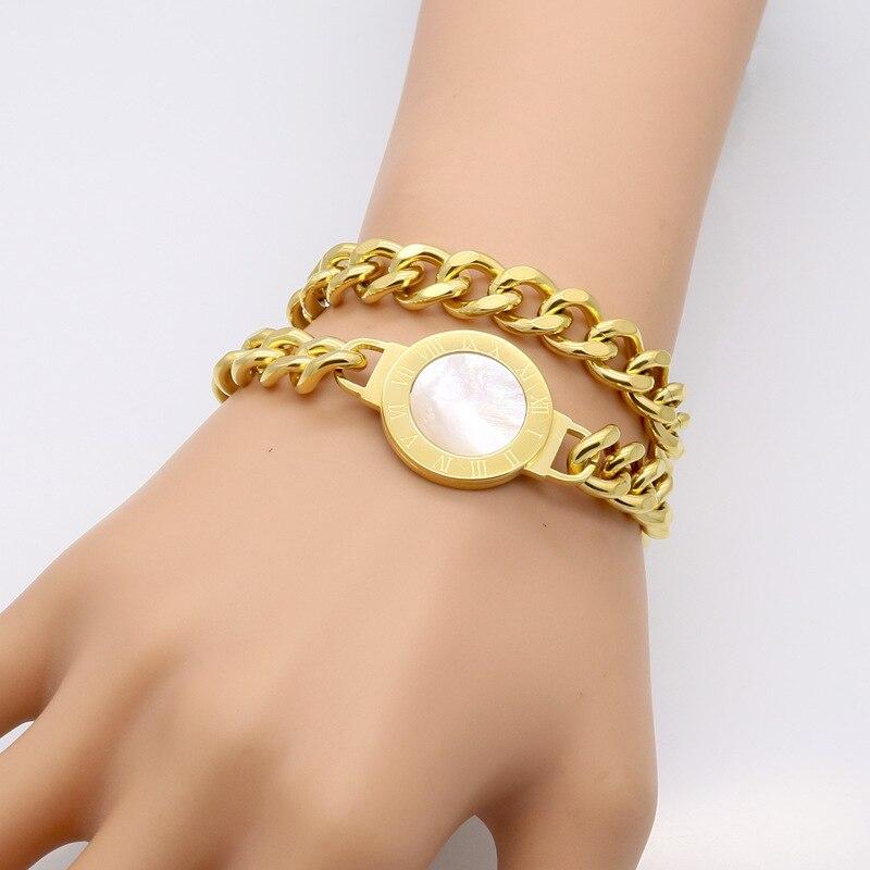 women gold bracelet designsdouble layer chain link shell bracelet