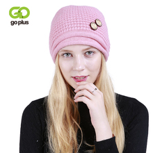 GOPLUS 2019 Winter New Fashion Pompom Knitted Hat Women Buttons Skullies Beanies Female Solid Cotton Casual Thick Warm Caps Girl