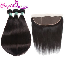 Soph Queen Hair Brazilian Straight Hair Bundles With Frontal Remy Hair Weave Bundles Human Hair Bundles With Closure(China)