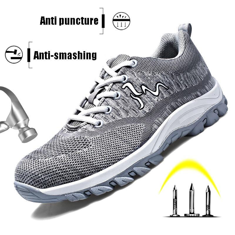 Safety Shoes Mens Plus Size 35-45 Titan Heavy Duty Sneakers Steel Toe Cap Work Shoes Women Breathable Walking Footwear