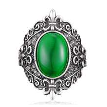 vintage Excellent Retro ring Cameo Antique Silver Bohemian Rings for Women Boho Fashion Green Opal Ring Bijoux Jewelry J02328