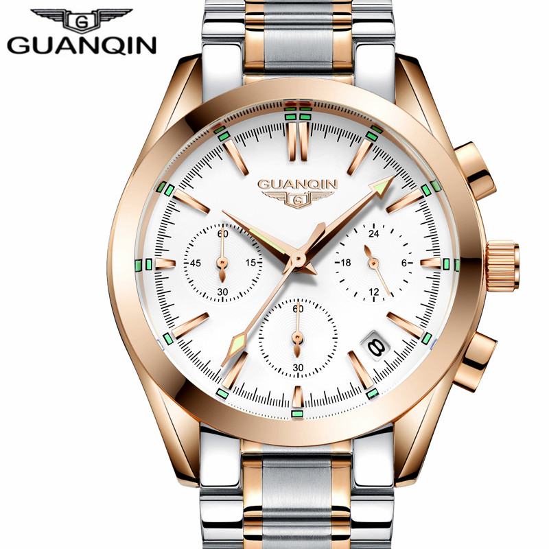 relogio masculino GUANQIN Luxury Brand Watches Men Business Chronograph Clock Man Sport Waterproof Stainless Steel Quartz Watch new guanqin mens watches top brand luxury man business quartz watch men sport stainless steel waterproof clock relogio masculino