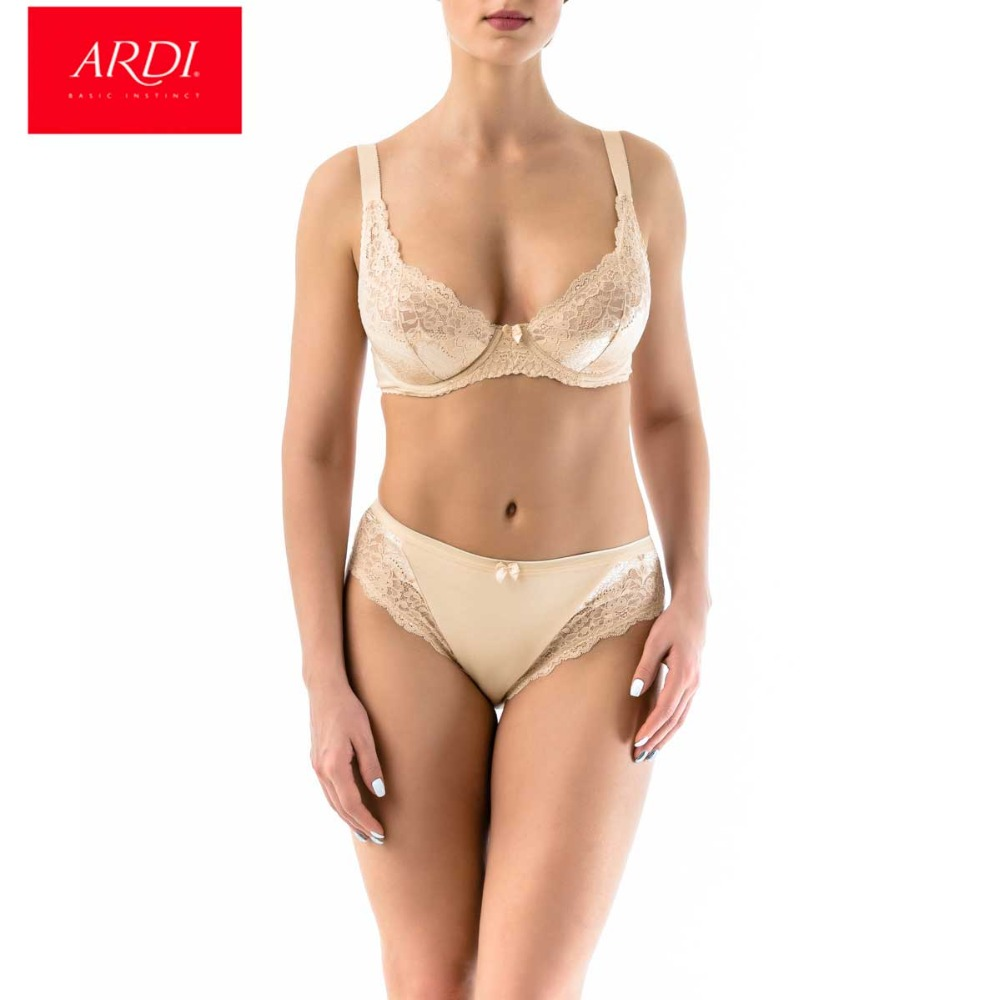 ARDI Female Wired Bra and Briefs Set with Demi Soft Lace Cup B C D E