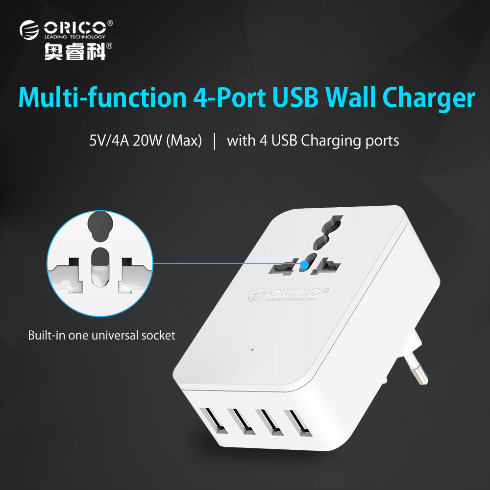 ORICO Universal 20 W Multi-Outlet Power Strip 1 AC Power Socket 4 USB Outlets Travel Converting Adapter for Smart Phone Tablet