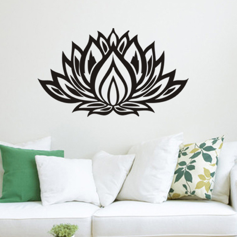 Beautiful black lotus flower home decals wall stickers living room wedding decoration for girls for Beautiful wall stickers for living room