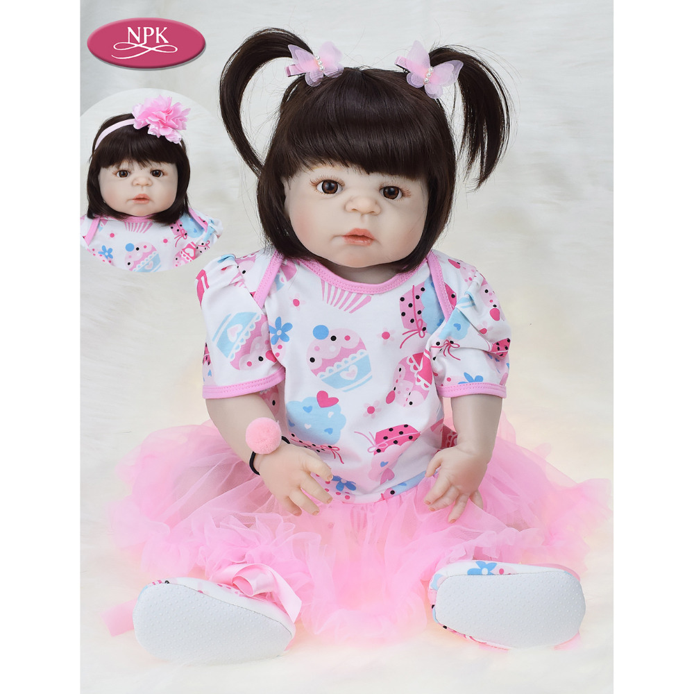 NPK 57CM Real Full Body Silicone Girl Reborn Baby Doll Bath Toys Lifelike Baby Princess Realistia