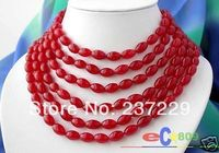 Wholesale price FREE SHIPPING AD LONG 100 13MM RICE NATURE RED JADE NECKLACE
