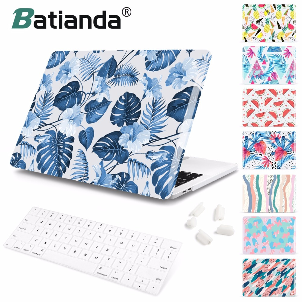 Summer Style leafs Pattern Hard Case For MacBook Air 11 12 13 inch Laptop Sleeve for Mac book Pro 13 15 A1989 A1706 with Retina laptop bag sleeve for macbook air 11 air 13 inch pro retina 13 3 15 for mac book new pro 13 a1706 women notebook bag men handbag