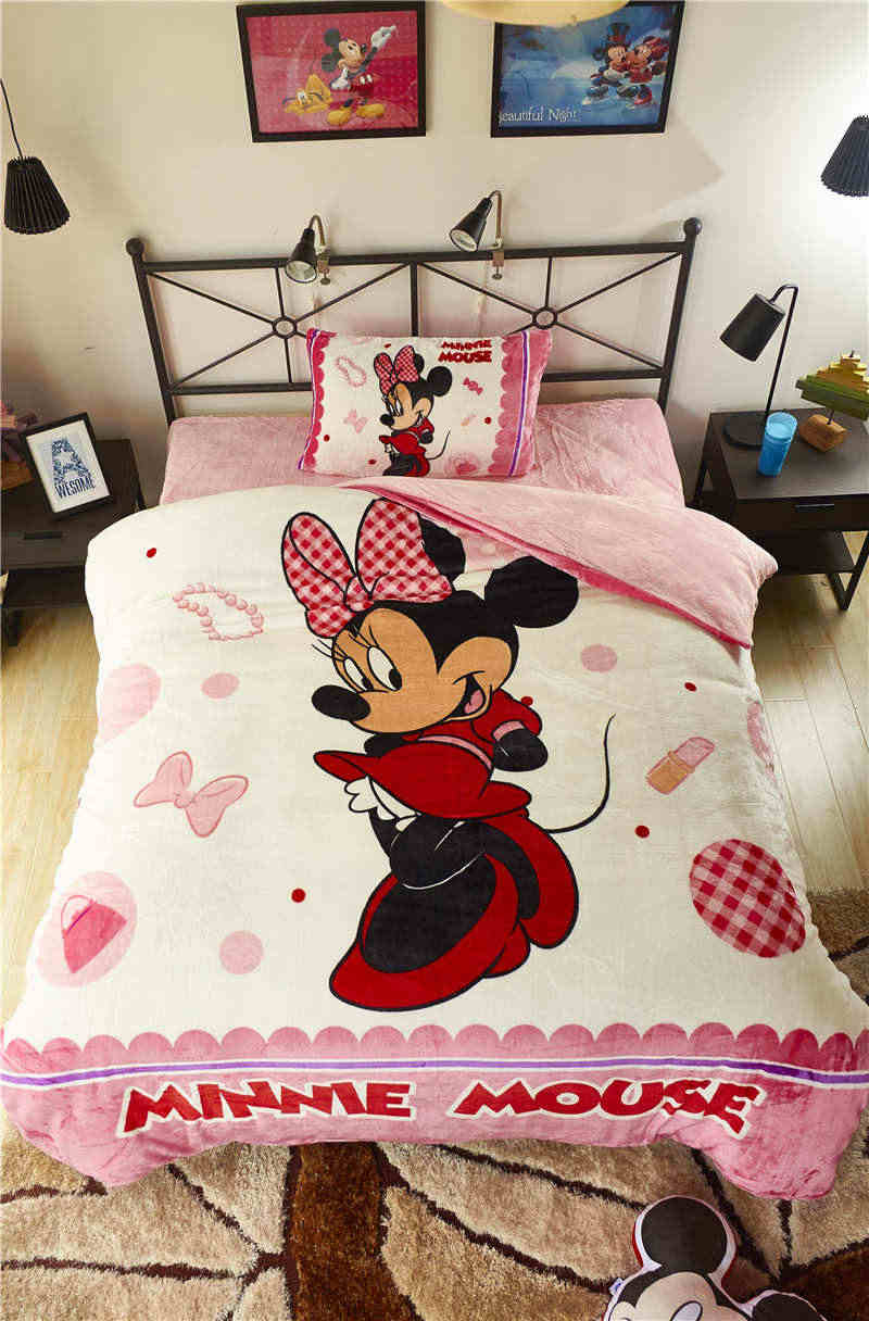 Image of: Pink Mickey Minnie Mouse 3d Printed Flannel Bedding Set Twin Full Queen Size Bed Covers Girls Kid Bedroom Decor Winter Soft Warm Bedding Set Flannel Bedding Setsqueen Size Aliexpress