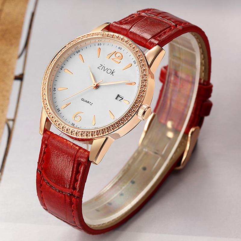 Zivok Moda Wrist Zegarki Damskie Czerwone Skórzane Miłośników - Zegarki damskie - Zdjęcie 5