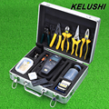 KELUSHI 26 in1 Kit de Herramientas de Fibra Óptica FTTH FC-6S Fiber Cleaver Medidor de potencia Cable tester 10 mW Visual Fault Locator Red light fuente