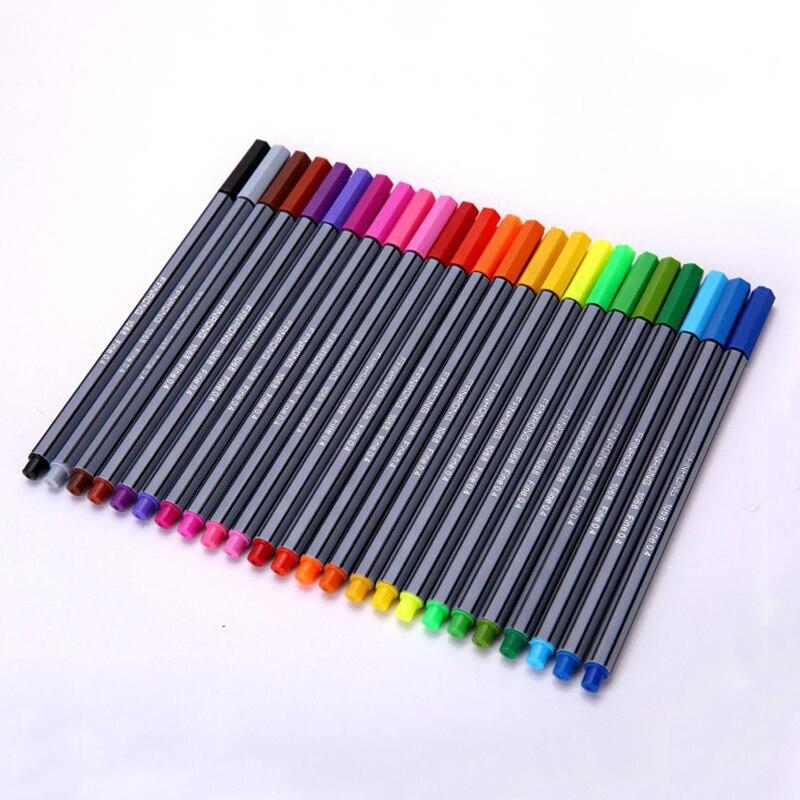 24 Colors 0.4mm Fineliner Pens Superfine Marker Pen Water Based Assorted Ink Arts Drawing for Children Graffiti Hook Fiber Pens
