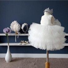 Милое белое платье принцессы в Корейском стиле для девочек без рукавов с круглым вырезом, на крестины, с бантом, кружевное нарядное бальное платье на день рождения/свадьбу, торжественное платье