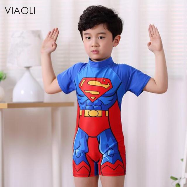 a4b50adb83 VIAOLI Cartoon Superman Boys Bathing Suit Swimwear Children Beach Wear Kids  Swimsuit Sport One Piece Short Sleeves Swimsuit