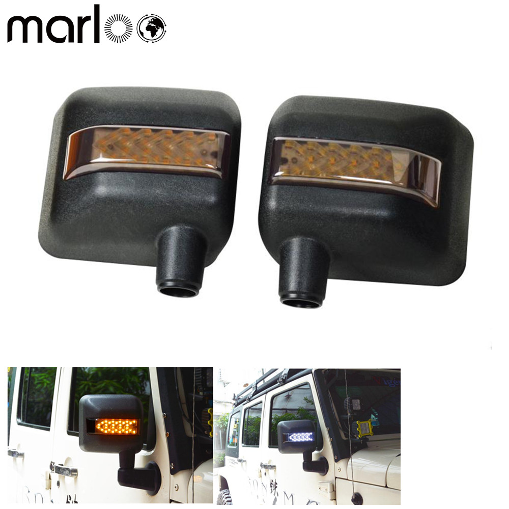 Marloo For Jeep Wrangler JK LED OFF ROAD REARVIEW MIRROR With Turn Signal Lights & DRL& Side Mirror Lights Side Mirror Light