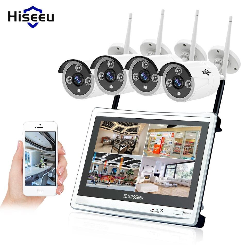 Hiseeu 4CH 1080 P Sans Fil NVR Kits 12' LCD affichage HD sécurité extérieure 2MP IP Caméra vidéo surveillance wifi cctv caméra système