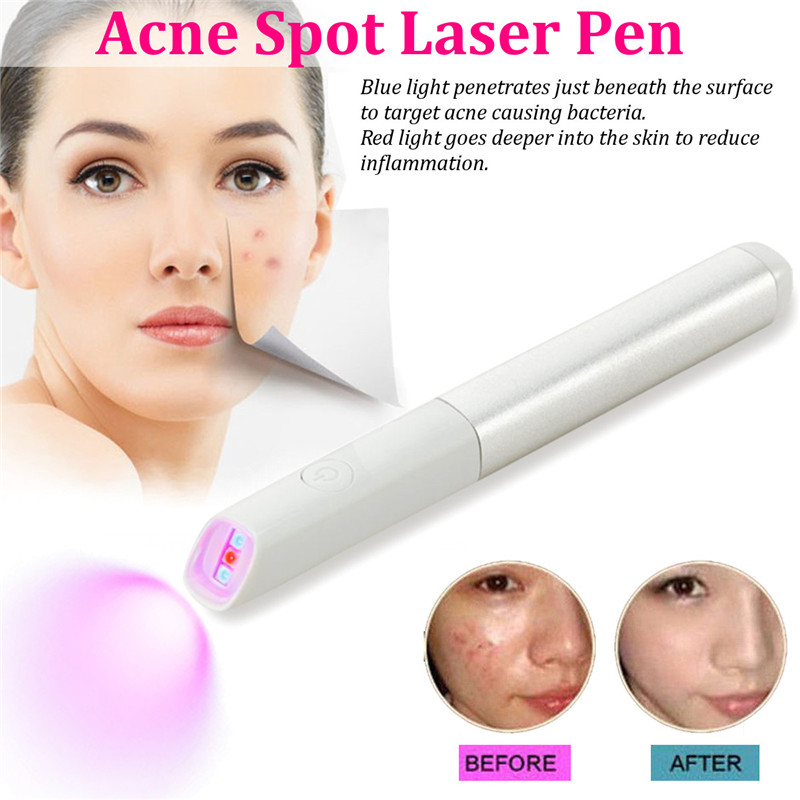 Blue Red Light Therapy Acne Spot Treatment Laser Pen Scar Wrinkle