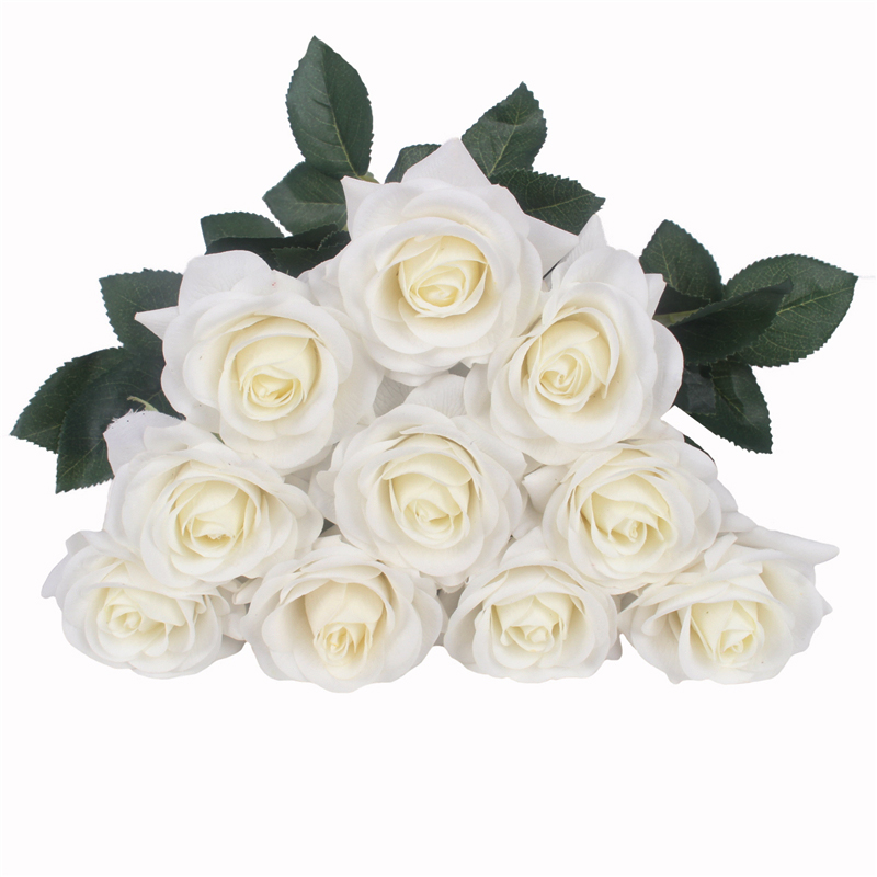 JAROWN Artificial Real Touch Hand Feel Rose Flowers For Valentine`s Day Preparation Wedding Decoration Home Decor (36)