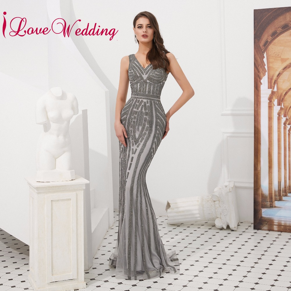 New Fashion 2018silver Sequin Evening Dress Long 2018 A-line V Neck Floor Length Lace Prom Dress Women Formal Prom Evening Gown Abendkleider Weddings & Events