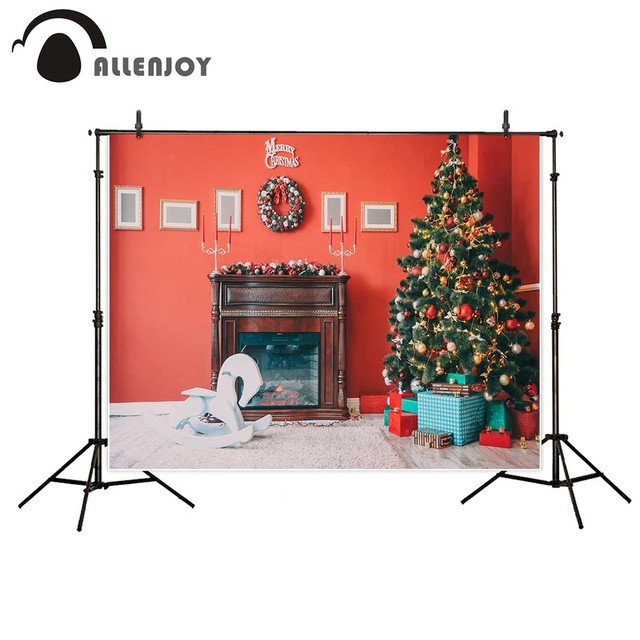 Allenjoy Photography Background Beautiful Christmas Living Room Decorated  Christmas Tree Gifts Fireplace Backdrop Photo Studio