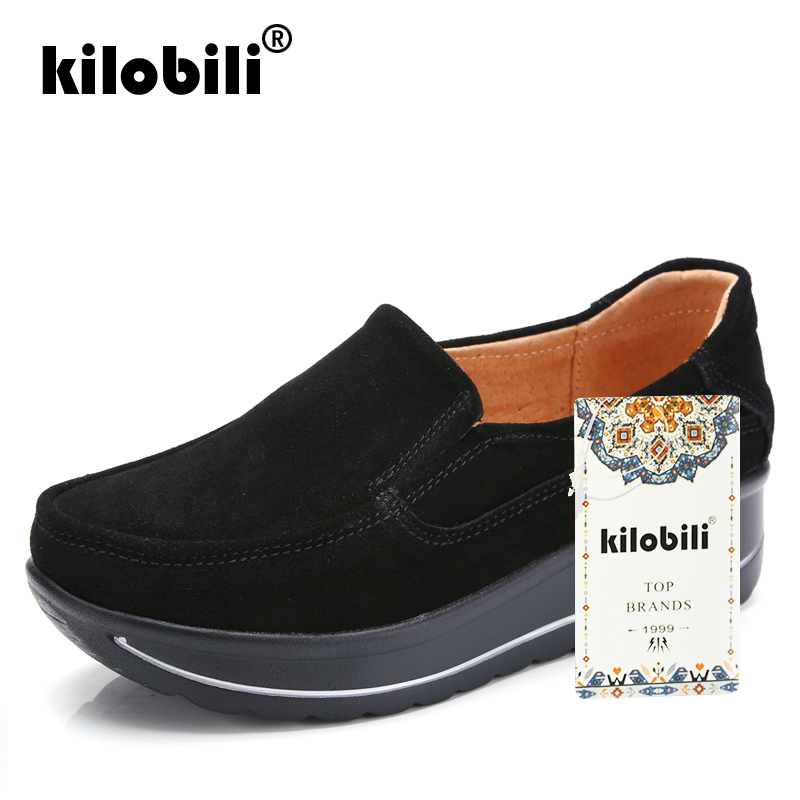 Mujeres Cuero black Otoño Blue Las red Kilobili Casuales Planos Zapatos  Mocasines 2018 blue Slip Zapatillas Gamuza Plataforma ... 5af1a5f2cbd9