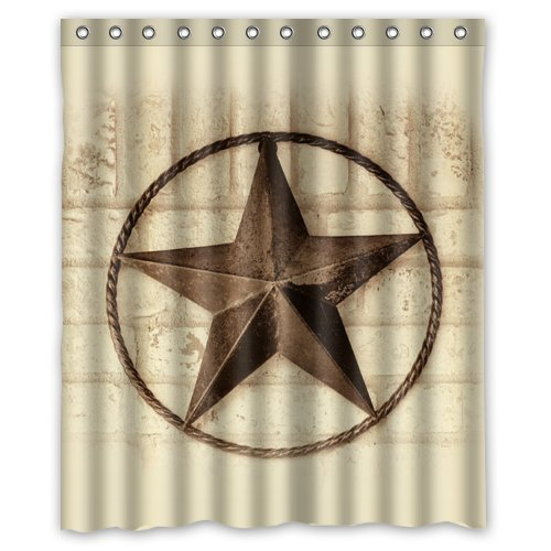 WAEM TOUR Western Texas Star Fashion Shower Curtain Polyester Hotel Bathroom With Hooks Ring180X180cm