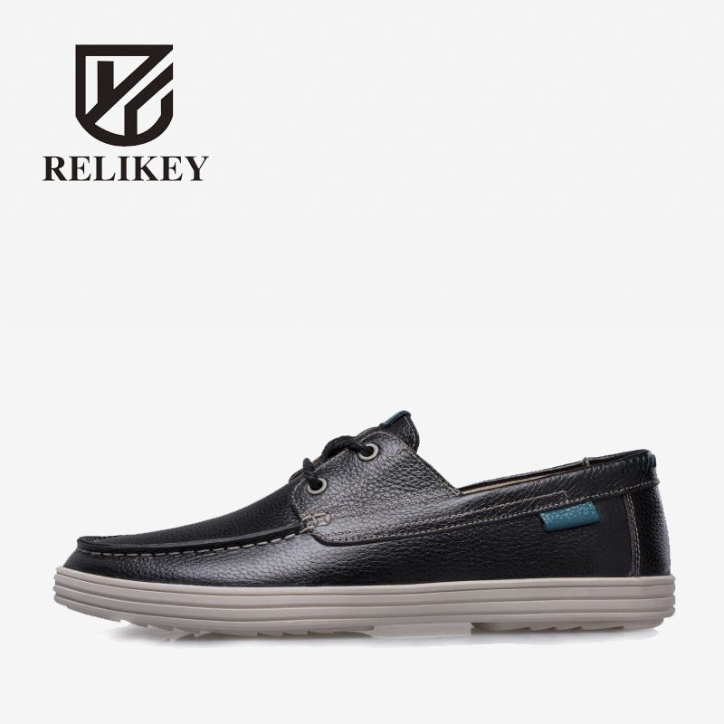 RELIKEY Brand Men Casual Shoes Handmade Sewing Fashion Autumn Male Flats Soft Breathable Lace-up High Quality Shoes for Men high quality men casual shoes fashion lace up air mesh shoe men s 2017 autumn design breathable lightweight walking shoes e62