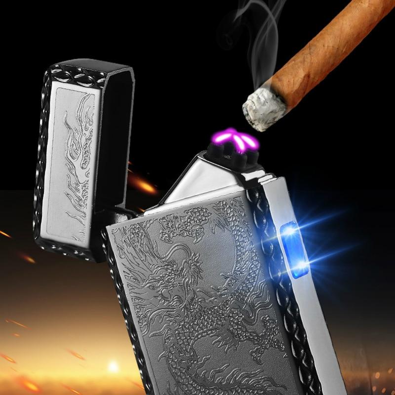 Дракон USB зарядка зажигалка электрическая двойная дуга плазменная Зажигалка Eletronic ветрозащитные сигареты зажигалки для курения сигары ...