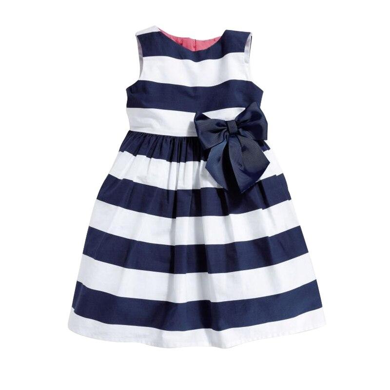 Summer Cute Baby Stripe Dress Princess Party Wedding Baby Girls Tutu Dresses Bow Sleeveless Newborn Infant Girl Clothing